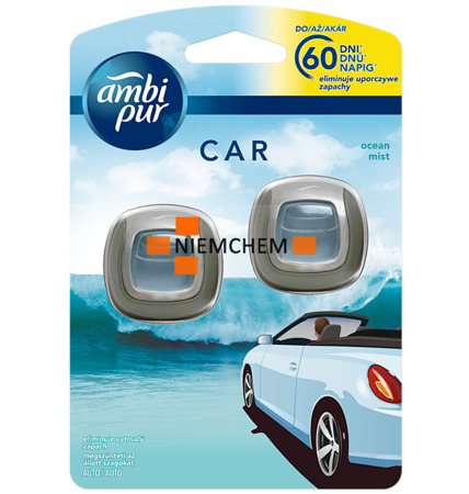 Ambi Pur Car Ocean Mist Zapach Samochodowy na 60 dni 2szt